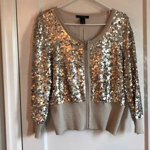 WHBM never worn EUC sequin gold zip cami lined